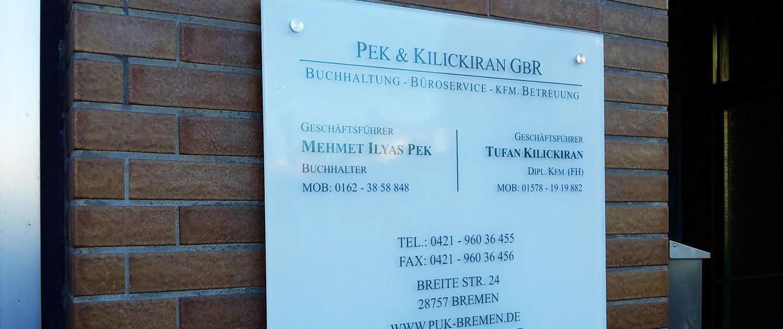 Praxischild Plexiglas Steuerberater Reklame Bremen